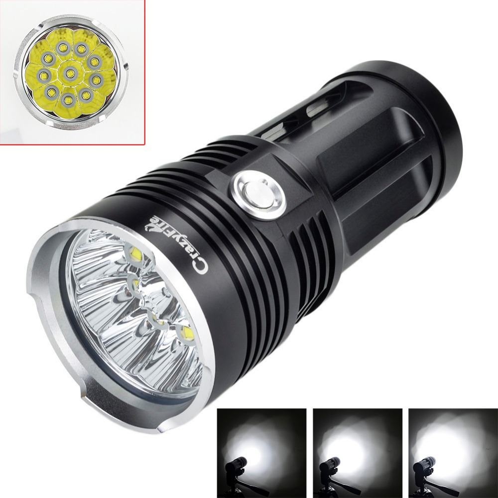 CrazyFire XML T6 10 Cree Led Flashlight Torch Outdoor 10000 Lumen Lanterna Waterproof Camping Hunting Light by 18650 Battery crazyfire led flashlight 3t6 3800lm cree xml t6 hunting torch 5 mode 2 18650 4200mah rechargeable battery dual battery charger