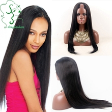 Silky straight glueless u part human hair wigs virgin Brazilian lace front wig with baby hair natural hairline for black women