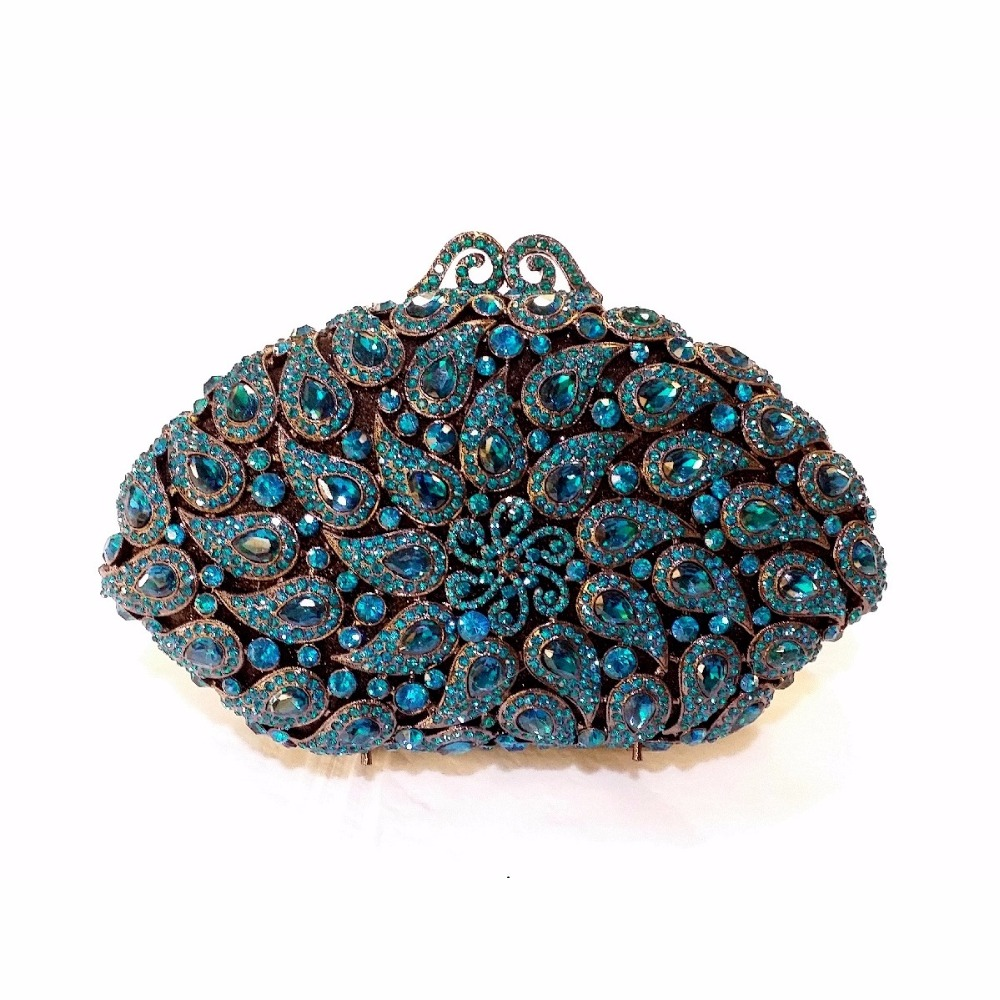 ФОТО 8358BL Blue Crystal shell Floral flower Wedding Bridal Party Night hollow Metal Evening purse clutch bag case box handbag