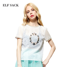 Elf SACK rose summer royal slim all-match fashion organza lace pullover short-sleeve shirt female p