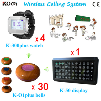 Restaurant Waiter Pager System with LED Display Receiver K-50 Transmitter Bell Button K-O1plus Pager Watch K-300plus