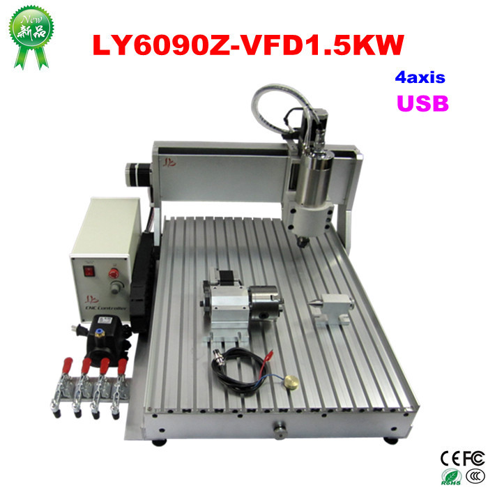no tax to EU  LY 6090Z-VFD1.5KW USB 4axis mini CNC carving machine CNC cutting machine no tax to russia cnc 5 axis t chuck type include a aixs