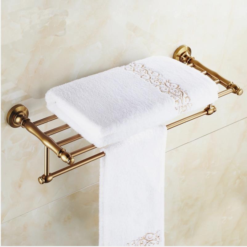 New Arrival Fashion Antique Brass Towel Rack Shelf Bathroom Accessories  Luxury Bath Towel Holder Toilet Free