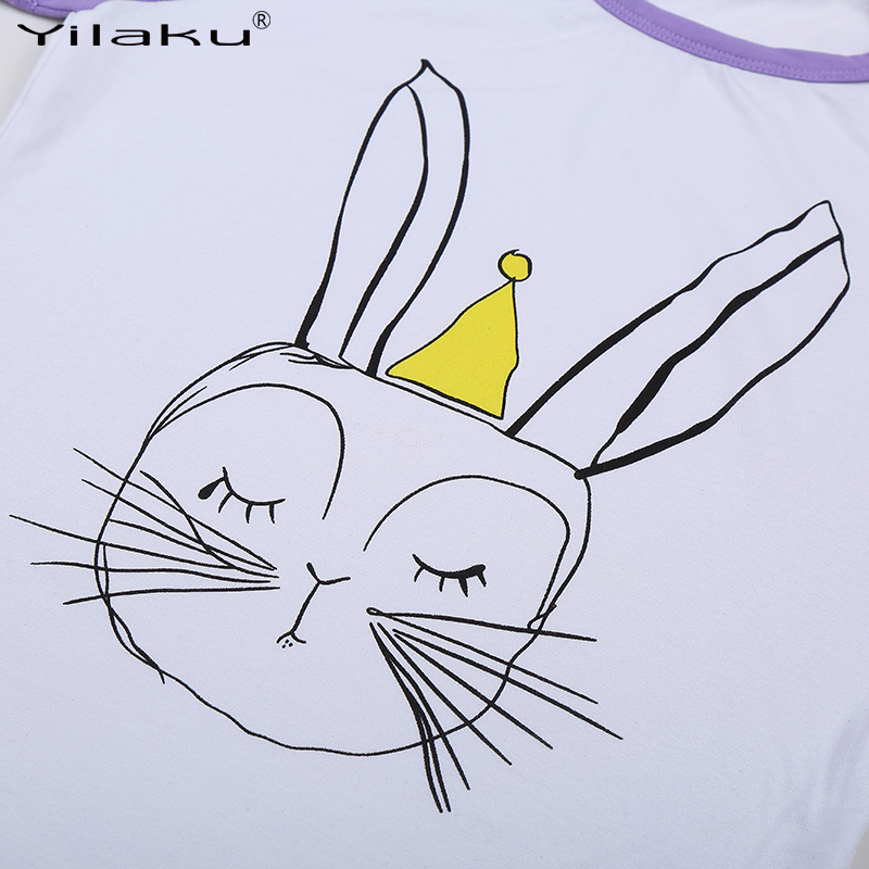 7a1733fd4f4f Yilaku Girls Cartoon Suit Children Clothing Set Short Sleeve Rabbit T shirt+Leggings  Sport Suits Girl Kids Summer Clothes Sets-in Clothing Sets from Mother ...