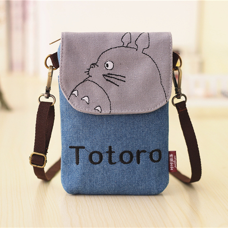 Totoro Bag Hello Kitty Sacos Baymax Totoro Dompet Wanita Kecil Kartun Canvas Denim Purse Ladies Mini Bags for Phone and Keys