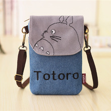 Totoro Bags Hello Kitty Sacos Baymax Totoro Wallet Women Small Cartoon Canvas Denim Purse Ladies Mini Bags For Phone And Keys