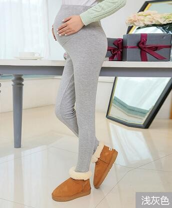Women Clothing High Waist Leggings Maternity Clothes Winter Leggings Thickened With Velvet Pregnant Women Trousers Warm Pants 4
