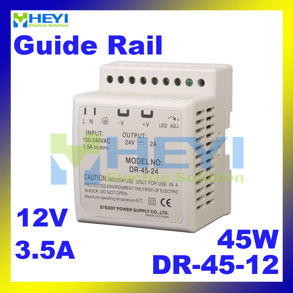 Guide Rail single group switch <font><b>power</b></font> <font><b>supply</b></font> DR-45-12 input 110 / 220VAC output <font><b>12V</b></font> <font><b>3.5A</b></font> <font><b>power</b></font> <font><b>supply</b></font> image