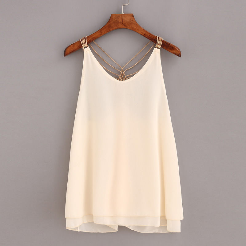 Fashion-Women-Tops-V-Neck-Backless-Cropped-Feminino-Beige-Chain-Strap-Chiffon-Cami-Top-Camisoles-Tank
