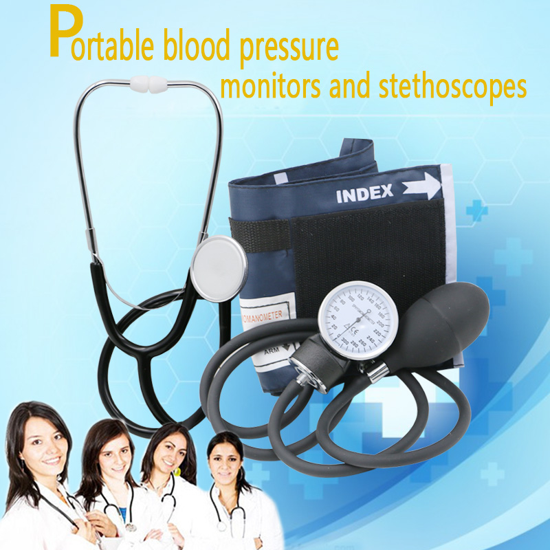Household Upper Arm Blood Pressure Meter Cuff Stethoscope Sphygmomanometer Kit Portable Medical Measurement Health Care pro single head medical stethoscope emt doctor nurse vet student health blood stethoscope free shipping