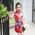 Verano vestidos de las muchachas florales niños vestidos para niñas de algodón muchachas del estilo Chino Cheongsam Qipao ropa sin mangas de los niños ropa