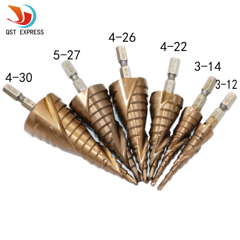 6pcs HSS-Co M35 Cobalt Spiral Grooved Step Drill Bits 1/4 Hex Shank Wood Metal Cone Drilling hss hex shank pocket drill bits