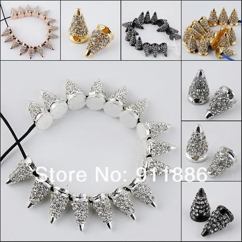 Charm Hip Pop Punk Spike Rivet Crystal Connector Beads 467e6e91dcf9