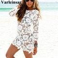 Mujeres sexy dress playa de punto hecho a mano de tejer ganchillo bordado floral traje de baño recorte bodycon dress vestidos v302