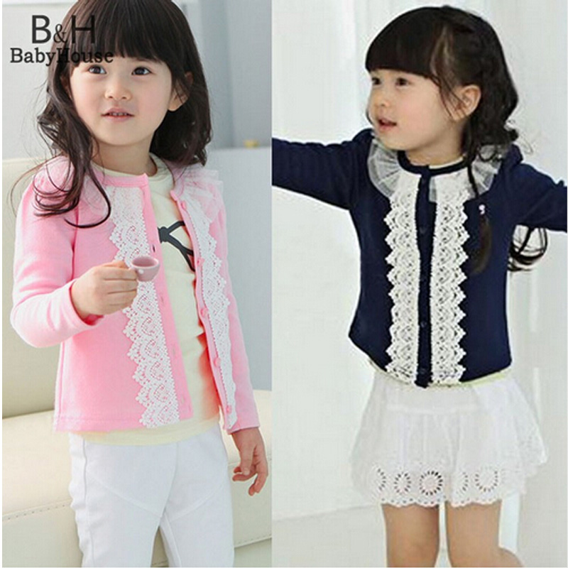 Spring Girl Cardigan Kids Lace Sweater for Girl Thin Outfits Pink Coat Baby Cute Clothes Free shipping Ukraine