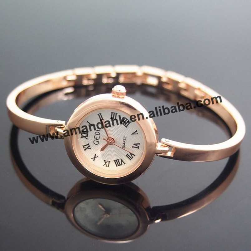 Dress Watches Ladies Rose-Gold Vintage Fashion Womens Cheap 50pcs/Lot Thin Factory-Price