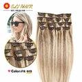 Clip En Tejidos de Pelo Brasileño Del Pelo Brasileño Clip En El Cabello Humano extensiones de cabello Cabeza Llena 70g 80g 100g 120g Remy Clip de Cabello Humano en