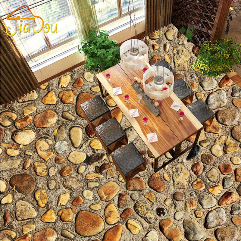 Custom Flooring PVC Self-adhesive Floor Mural Wallpaper Waterproof Stone Pebbles Living Room Bathroom Floor Sticker Wallpaper 3D  custom 3d floor painting wallpaper stone steps sunshine pvc self adhesive living room bedroom bathroom floor sticker wall mural