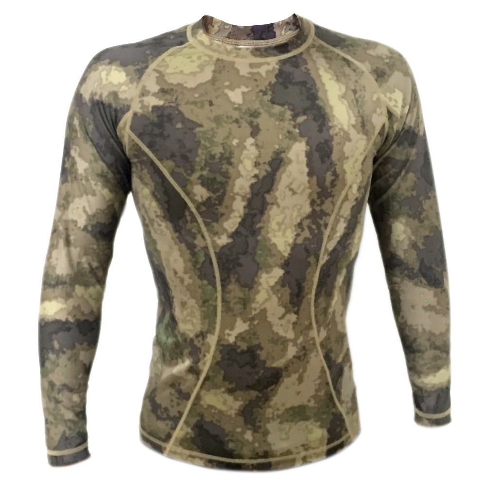 Atacs tight compression Army T-shirt Camo Long sleeve Tactical shirt Breathable Lightweight summer shirt