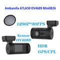 Frete Grátis!! Mini 0826 Traço Câmera Do Carro DVR Full HD 1296 P Ambarella A7LA50 & GPS + CPL filtro