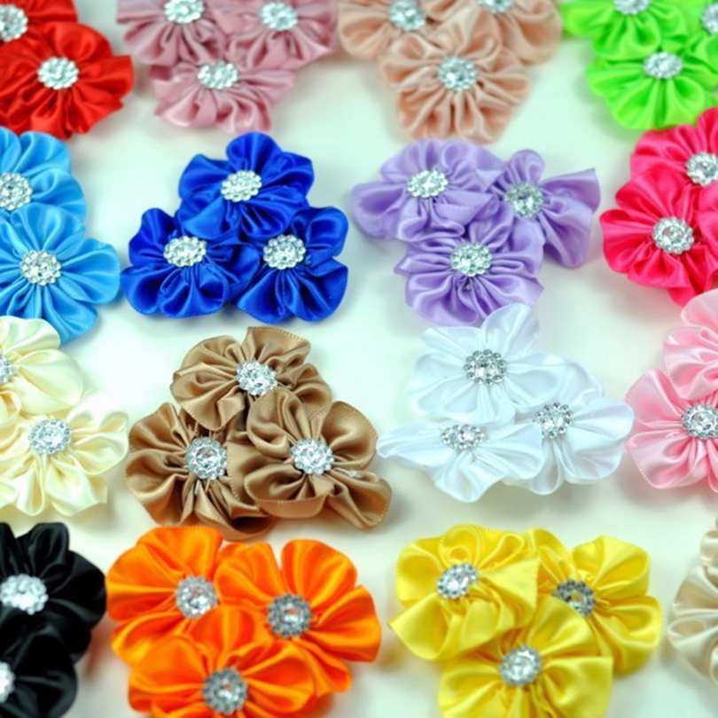 120pcs lot 16colors Triple Hair Clips Satin Ribbon Cluster Flowers Rhinestones For Hair Accessories Fabric Flowers