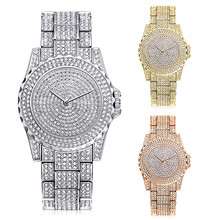 Luxury Shiny Rhinestone Casual Stainless Steel Band Quartz Wrist Watch Women Gift