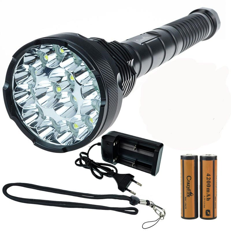 18000 Lumens 15 x CREE XM-T6 5-Modes Waterproof Super Bright Flashlight Torch 800M Lighting Distance +18650 Battery&Charger 20000 lumens 15 x cree xm l2 led 5 light modes waterproof super bright flashlight torch with 1200m lighting distance