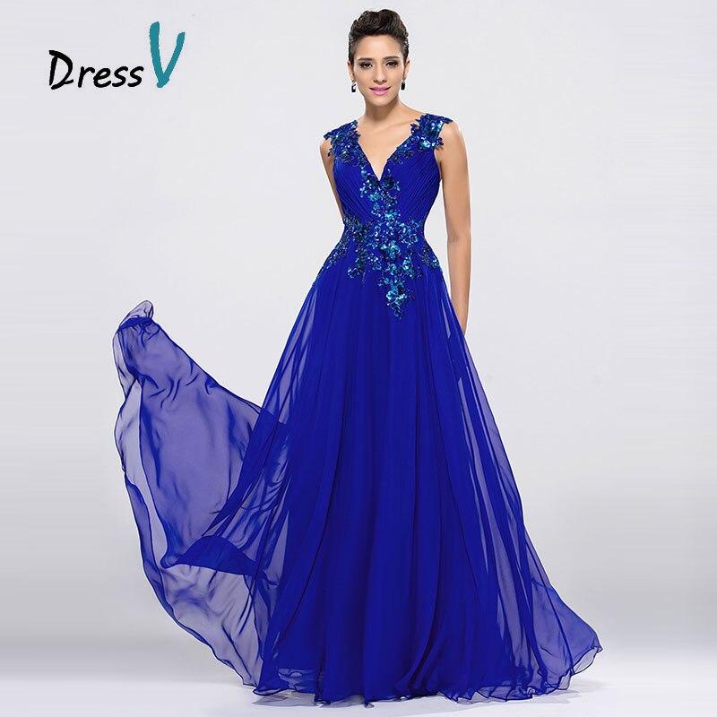 DressV Royal Blue Chiffon Long Evening Dresses V-Neck A-Line Floor Length Prom Dress Formal Occasions Appliques Evening Dress
