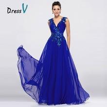 DressV Royal Blue Chiffon Long Evening Dresses V Neck A Line Floor Length Prom Dress Formal