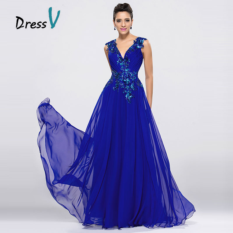 DressV Royal Blue Chiffon Long   Evening     Dresses   V-Neck A-Line Floor Length Prom   Dress   Formal Occasions Appliques   Evening     Dress