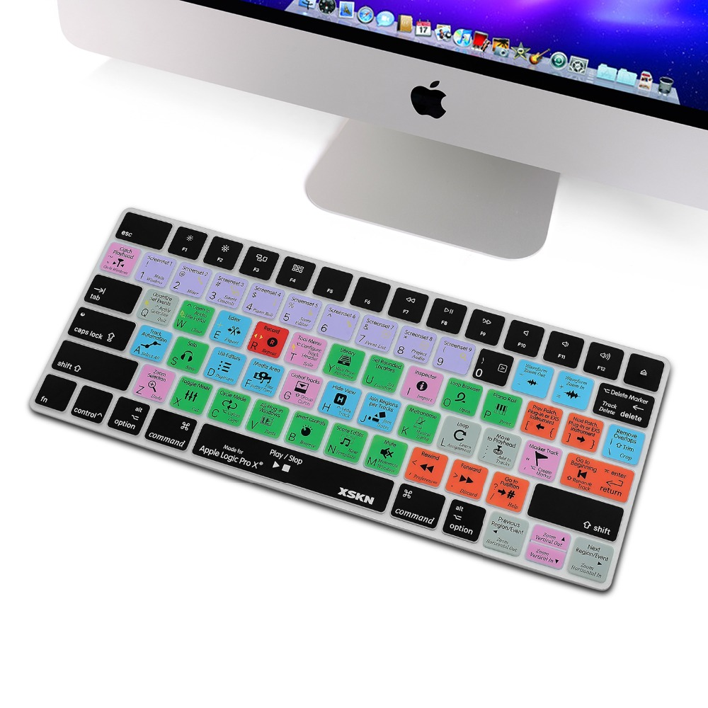 XSKN Logic Pro X 10 Functional Shortcut Silicone Keyboard Skin for Apple Magic Keyboard MLA22LL/A Protective Cover
