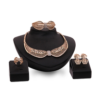 Women Bib Bow Choker KC  Necklace Earrings Ring Bracelet Jewelry Set
