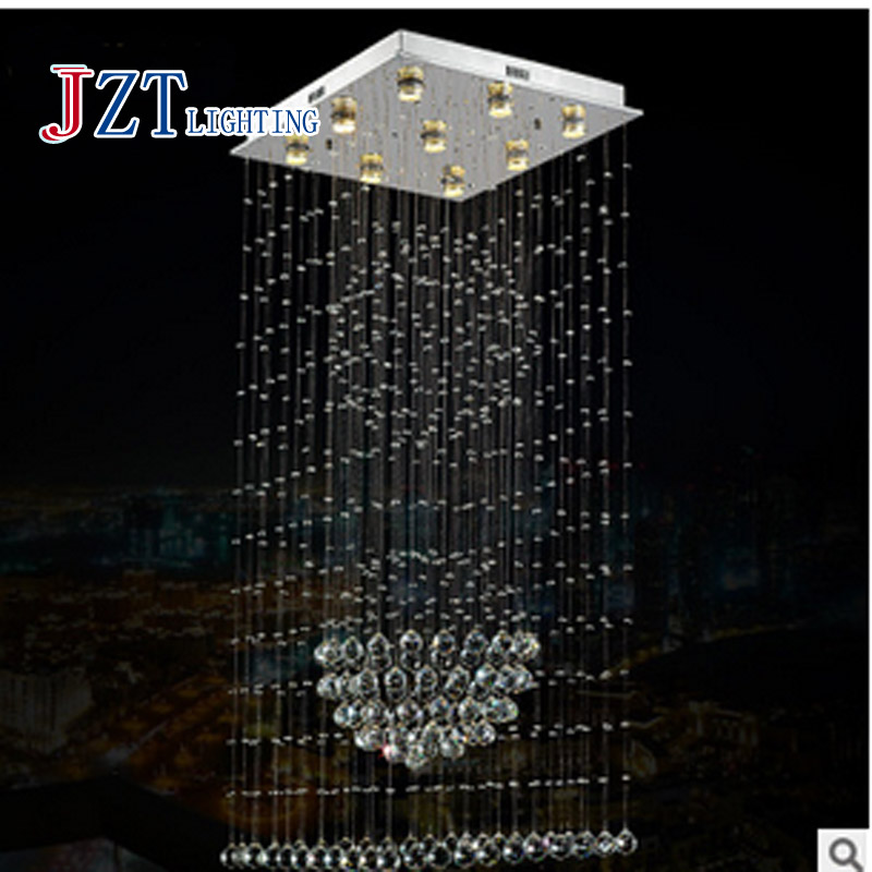 T Best Price LED Modern Luxury Crystal Ceiling light For Dining-room The Stairs Lamp Droplight Pandent Light Height1500mm t best price modern lustre rectangular crystal chandeliers for dining room pandent lamp with led bulbs for entrance aisle