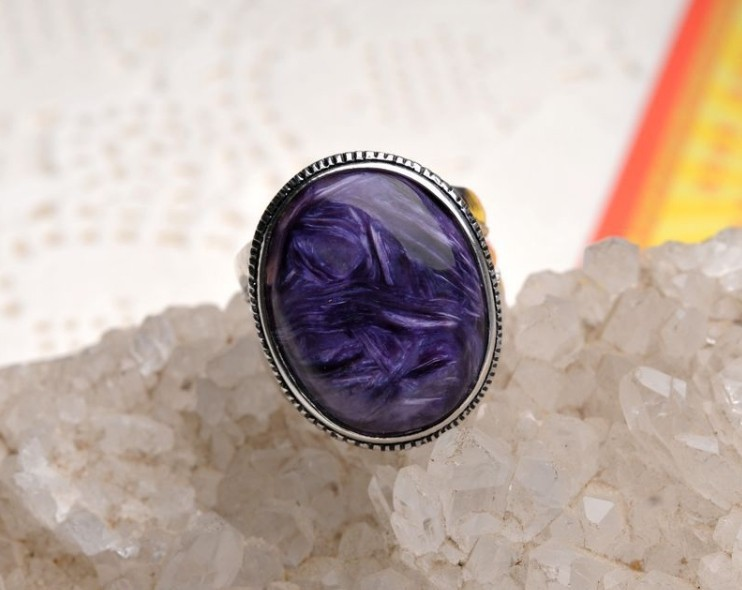 925 позолоченные ингрид 100% природный чароит кольцо, качество exqisite и подарок кольцо, модные ювелирные изделия для мужчин