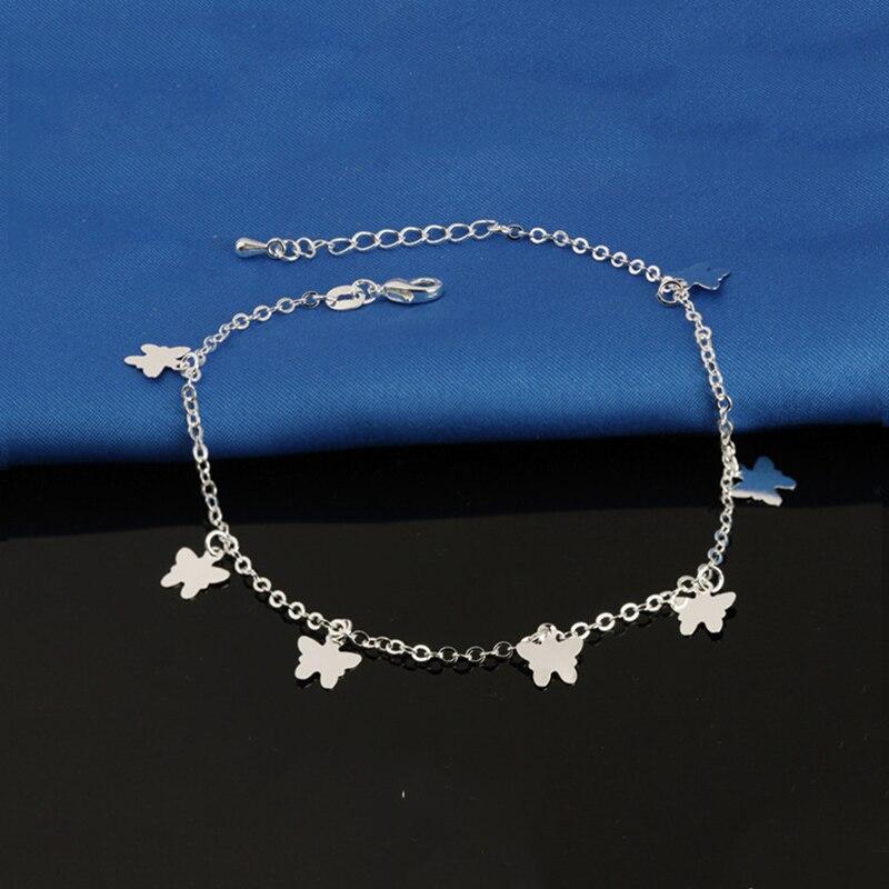 Anklets Female Butterfly Plated Silver Ankle Bracelets Jewelry Fashion Women Foot Ornaments Bijoux Bracelet De Cheville JL006