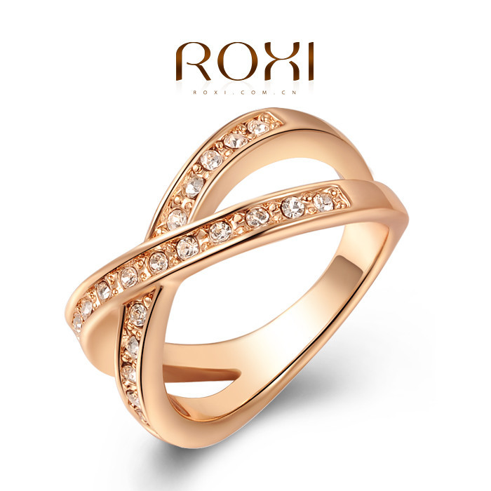 2017 ROXI Rose Gold Wedding Cross Ring White Color with AAA zircon