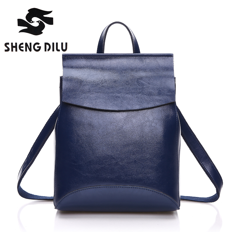 HOT SALE 100% genuine leather Backpack Cow mochila shengdilu brand 2017 new women shoulder bag school bag free shipping