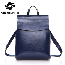HOT SALE 100 genuine leather Backpack Cow mochila shengdilu brand 2017 new women shoulder bag school