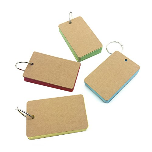 small 50 Unruled Blank Pages Notepad Word Cards, Binder Ring Easy