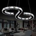 Cromo moderno Lustre de Cristais de Diamante Anel de 24 W CONDUZIU a Lâmpada LED Lustre de Cristal Pendurado Luminárias de Aço Inoxidável Ajustável