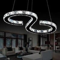Elinkume الحديثة الكروم الثريا بلورات الماس الدائري 24 واط بقيادة مصباح المقاوم للصدأ شنقا مصابيح تعديل كريستال