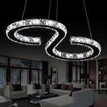 Elinkume Modernen Chrom Kronleuchter Kristalle Diamant Ring 24 Watt Led-lampe Edelstahl Hängen Leuchten Einstellbar Cristal