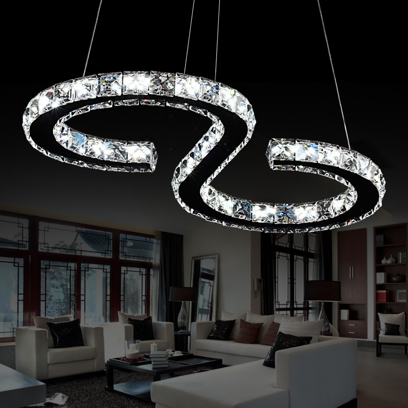 Elinkume Modern Chrome Chandelier Crystals Diamond Ring 24W LED Lamp Stainless Steel Hanging Light Fixtures Adjustable