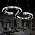 Modern Chrome Chandelier Crystals Diamond Ring 24W LED Lamp Stainless Steel Hanging Light Fixtures Adjustable Cristal LED Lustre