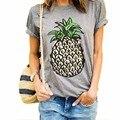 2016 Mujeres Del Verano Camiseta de La Novedad Breve Patrón de la Piña Imprimir Camisetas Flojas Del O-cuello de La Manera Salvaje Top Tees