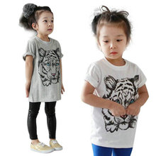 Baby Girls Kids Korean Tiger Printed Casual T-shirt Cotton Shirt Clothes Lovely Tops For Girls