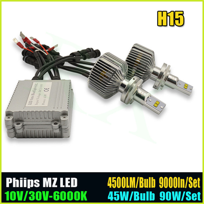 Newest <font><b>H15</b></font> P hilips 12 <font><b>LEDs</b></font> 90W/Set Car Auto DRL Daytime Running Lights Lamp Replacement Bulb H7 H8 H11 H4 9000LM 6000K DC10-30V