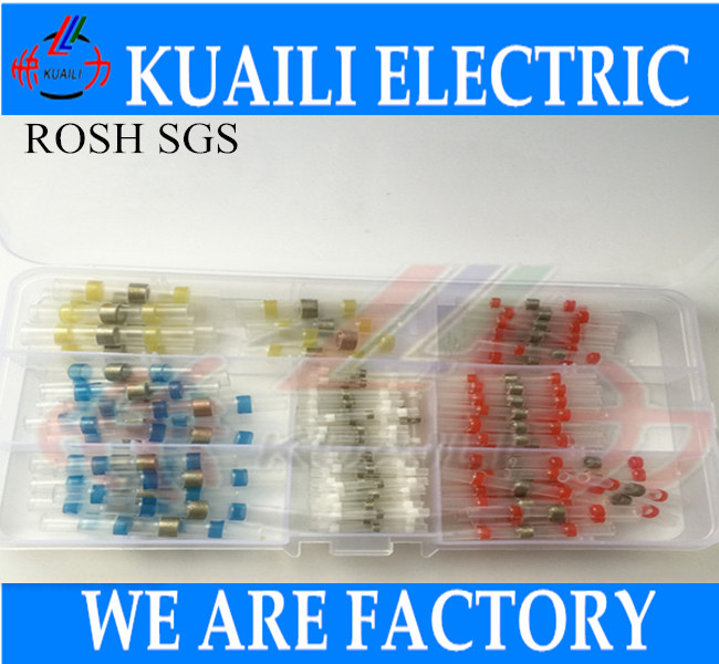200pcs Heat Shrink Connector butt solder sleeve wire splices AWG 26-24 22-18 16-14 12-10 Heat Shrink Connector butt solder 500 pcs blue heat shrink 16 14 ga butt wire connectors ring terminal free shiping