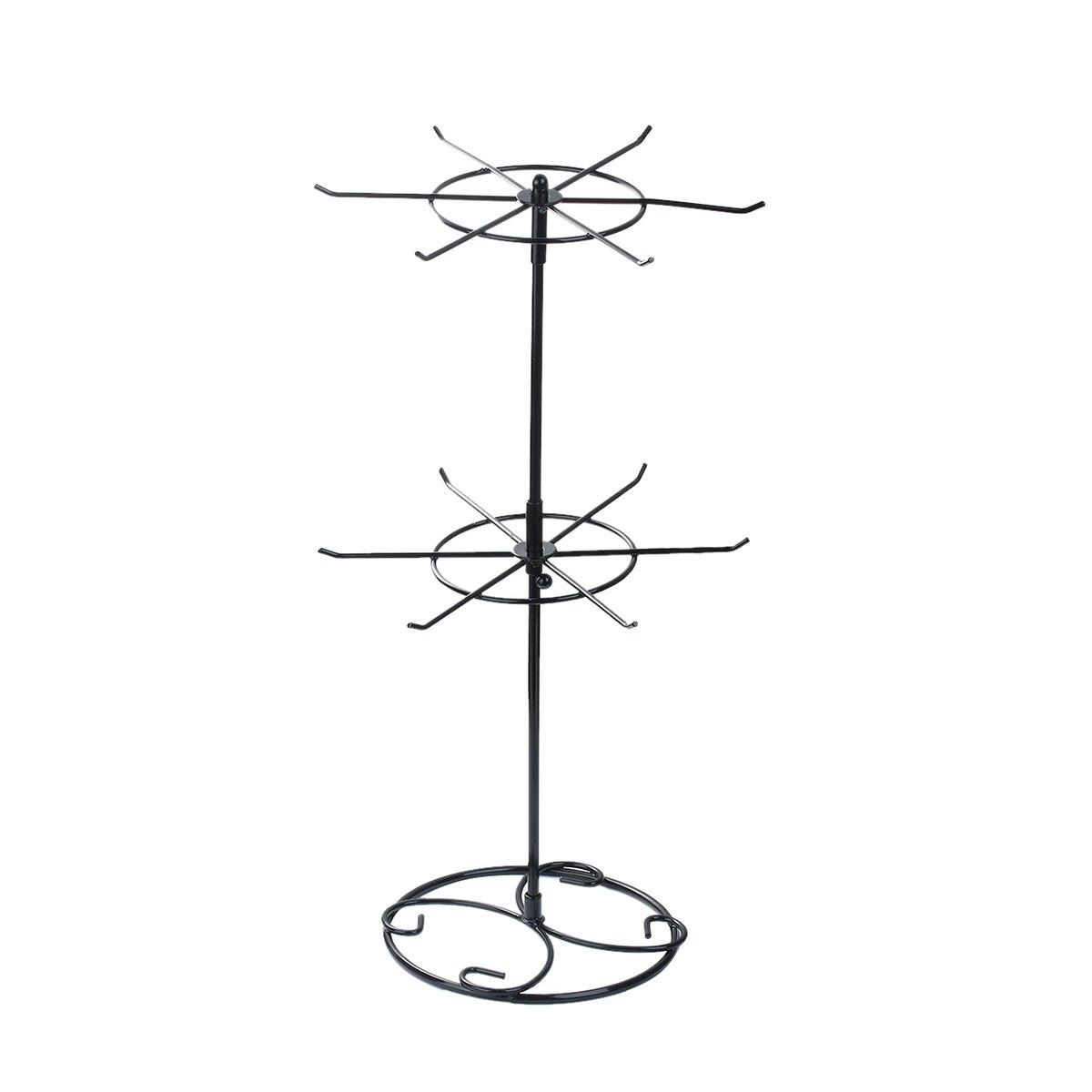 Doreen Boîte Double Niveau Bijoux Boucles D'oreilles Collier Présentoir Stand Rond Noir Tournant 43 cm x 22.2 cm, 1 PC 2017 nouveau