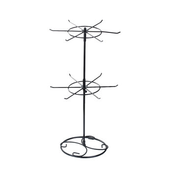 Doreen Box Double Tier Jewelry Earrings Necklace Display Rack Stand Round Black Rotating 43cm x 22.2cm ,1 PC 2017 new
